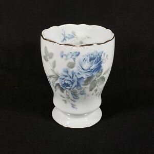 Veratex Vera Blue Roses Gray Leaves Ceramic Bathroom Tumbler Cup Beautiful NEW