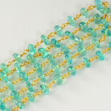5.5MM 18K Gold Vermeil Caribbean Ocean Blue Apatite Gemstone Chain By The FOOT
