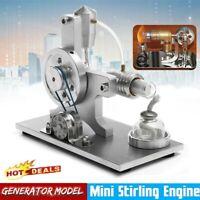 Silver Mini Hot Air Stirling Engine Motor Model Generator Educational Toy