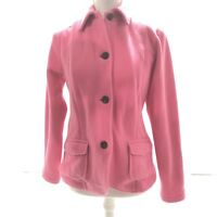Women's Size Small 6-8 Lands End Pink Super Soft Fleece Button Up Coat Jacket