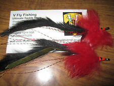 2 V Fly Size 4/0 Ultimate RV Tarpon Black Death Keys Baitfish Saltwater Flies