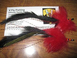 2 V Fly Size 4/0 Tarpon Black Death Keys Bunny Baitfish Saltwater Flies