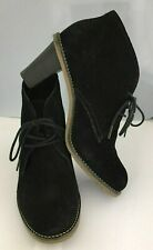 J JILL Size 7.5 Black Suede Leather High-Heel Fashion Desert Chukkas Ankle Boots