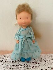 "Vintage 1975 Knickerbocker Holly Hobbie Carrie Vinyl Doll 6"" Blue Dress"
