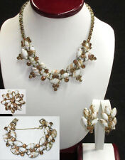 D&E Juliana Copper Fluss Rhinestone Grand Parure Necklace Bracelet Earrings Pin