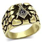 18K Gold Nugget Mason Masonic Ring Blue Lodge Size 9 10 11 12 13 New