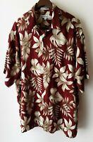 Pierre Cardin Hawaiian Shirt 100% Rayon Red w/Leaves Size XL