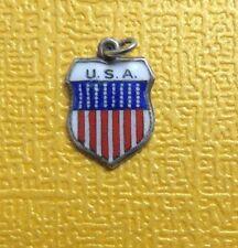 VTG 800 Silver USA Enamel SHIELD Travel Bracelet CHARM REU
