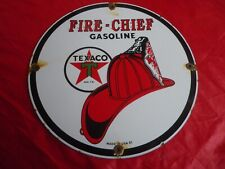 PLAQUE EMAILLEE FIRE CHIEF TEXACO GASOLINE 51 VINTAGE 70's sign high quality usa
