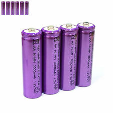 6 pcs AA LR06 3000mAh 1.2V NI-MH rechargeable battery CELL/RC MP3 SILVER PURPLE
