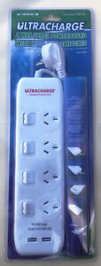 Power Board USB Charger 4 Way Surge Protector With 1M Cable