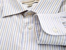 PRONTO UOMO Men's 17 1/2 - 34 / 35 Long Sleeve Button Down Shirt Blue Striped