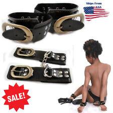 Pair Faux Leather Black Wrist Cuffs w/ Vintage-Look Buckle Goth Punk Bracelets