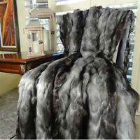 Plutus Luxury Brandy Faux Fox Fur Throw Hypoallergenic Grey Black 60 x 72""
