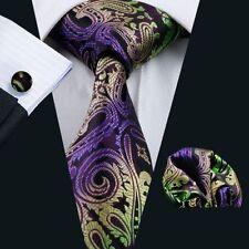 Lila Schwarz Grün Paisley Seide Krawatte Set Einstecktuch Knöpfe Hochzeit K420