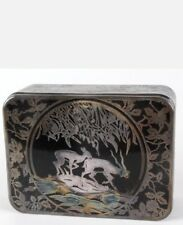 C1930's Rockwell Silver Company Sterling Overlay Glass Box. Antelope Pattern