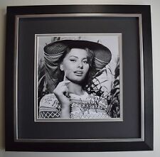 Sophia Loren SIGNED Framed LARGE Square Photo Autograph display Film AFTAL & COA