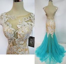 NWT MacDuggal Aqua Nude $698 Pageant Prom Ball Gown 4