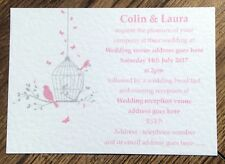 50 Personalised Vintage Wedding Invitations Evening Invites butterfly birdcage 1