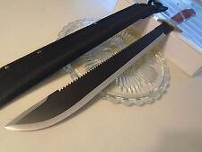 "War Hunter Combat Hunter Machete Sword Knife Sawback Brown Wood W Sheath 23 1/2"""