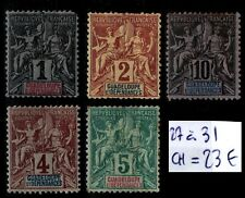GUADELOUPE : TIMBRES 27 à 31, Neufs * = Cote 23 € / Lot COLONIES