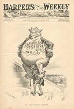 Political Cartoon, Uncle Sam, Fraudulent Pensions, Vintage, 1898 Antique Print