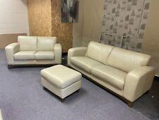 Cream Leather 3 + 2 Sofa Suite Three Piece Suite