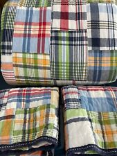 Pottery Barn Kids Plaid MADRAS Full Queen Quilt + 2 ST Sham Bedroom Bed Reverse