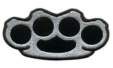 BRASS KNUCKLES EMBROIDERED 4 INCH IRON ON MC BIKER PATCH