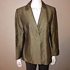 Ann Taylor Linen Blazer Size 12 Womens Gray Dress Suit Jacket Shoulder Pads