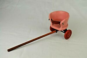 """Long Handle Two Wheel Toy Baby Stroller 7 5/8"""" Long Wood Wheels Excellent"""