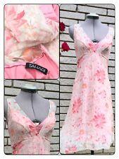 Tahari Silk Dress Sz 4 Pink Champagne Beige Floral Sheer Lined Shark-bite Hem