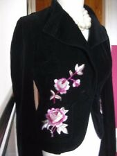 Ladies FCUK corduroy BOLERO embroidered evening JACKET size UK 8 black pink