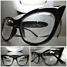 Women's CLASSIC VINTAGE 60's RETRO CAT EYE Clear Lens EYE GLASSES Black Frame