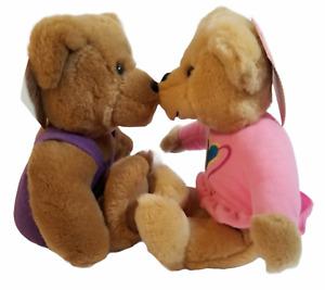 "HALLMARK Pair 9"" Love and Kiss Kiss Magnetic Kissing Lips Teddy Bears w Tags ..."