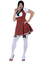 Sexy Schoolgirl Red White Tartan Pattern Theme Party School Costume