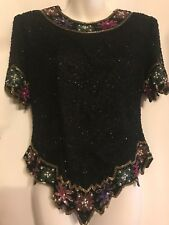 Laurence Kazar NY Sz PM Black Silk Formal Tunic Beaded Floral Trim Lined Blouse