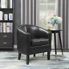 Modern Pu Leather Arm Chair Single Sofa Tub Barrel Club Seat Furniture w/Cushion