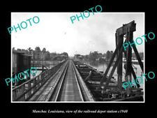 OLD LARGE HISTORIC PHOTO OF MANCHAC LOUISIANA RAILROAD DEPOT STATION c1940