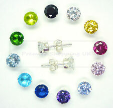 STERLING SILVER CUBIC ZIRCONIA CZ STUD EARRINGS SQUARE ROUND 925  UK seller