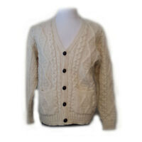 Inis Craft Men Size M Cardigan Fisherman Wool Sweater White Made in Ireland