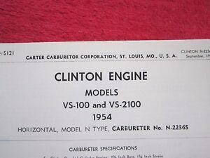 1954 CLINTON VS-100 & VS-2100, N-TYPE CARTER CARBURETOR SPEC & INFO SHEET