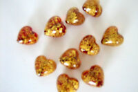 Puffed Heart Murano Lampwork Glass Beads Red  with Gold Foil Quantity 10