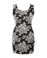 BLACK & WHITE FLORAL DRESS BODYCON BANDAGE EVENING WIGGLE SIZE 8 & 10