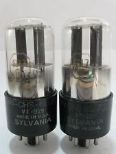 2 matched +/-1950 Sylvania VT-229 CHS-6SL7GT tubes-Black Round P, Dimpled-D-Foil