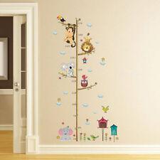 Cartoon Animals Monkey Owl Height Wall Sticker Kids Room Growth Chart Decor art