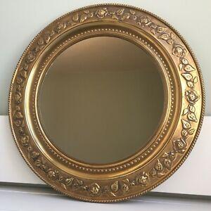 Vintage Mid Century Round Unpolished Distressed Brass Framed Wall Mirror 37cm B