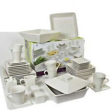 45-Piece White Square Dinnerware Service Set For 6 w/ Plates Bowls Dishes Cups