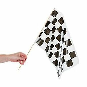 (12pc) BLACK AND WHITE CHECKERED FLAGS SPORTS CAR RACING PARTY DECORATION FLAG