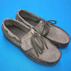 Crocs Mens 11 Gray Leather Suede Deck Casual Shoes D1